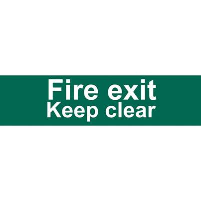 Draper Fire Exit Keep Clear' Safety Sign