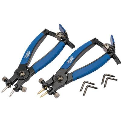Draper Soft Grip Ratcheting Internal and External Circlip Pliers (2 Piece)