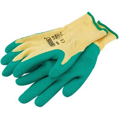 Draper Green Heavy Duty Latex Coated Work Gloves - Large