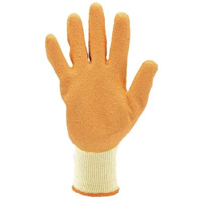 Draper Pack of Ten, Orange Heavy Duty Latex Coated Work Gloves - ExtraLarge