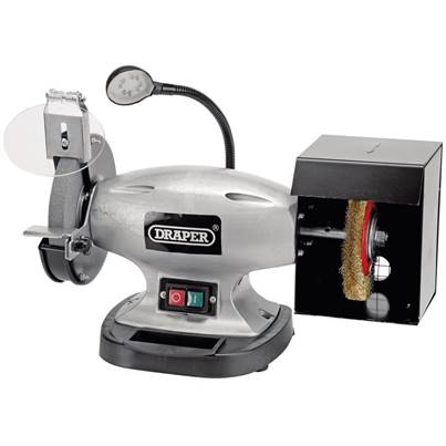 Draper 150mm Bench Grinder with Wire Wheel and LED Worklight (370W)