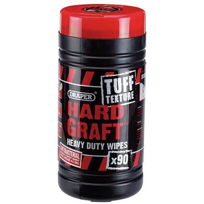 Draper Tuff Texture, 'Hard Graft' Heavy Duty Wipes (Tub of 90)