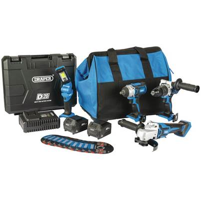 Draper D20 20V Workshop Kit (4 Piece) (+1x 3Ah Batteries, 1x 4Ah Battery, Charger and Bag)