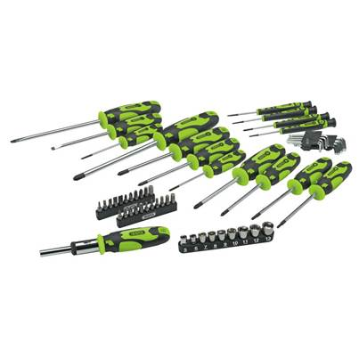 Draper Soft Grip Screwdriver, Hex Key, Socket and Bit Set with Canvas Storage Bag (56 Piece)
