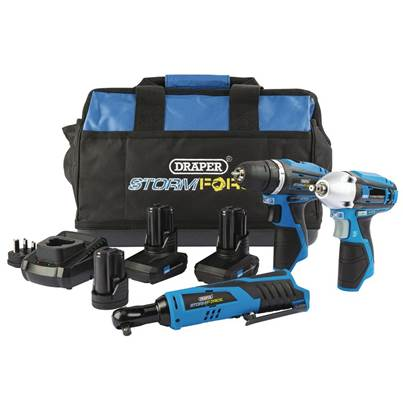 Draper Storm Force® 10.8V Power Interchange Drill Driver Kit (+2x 4Ah Batteries, 1 x 1.5Ah battery, Charger and Bag)