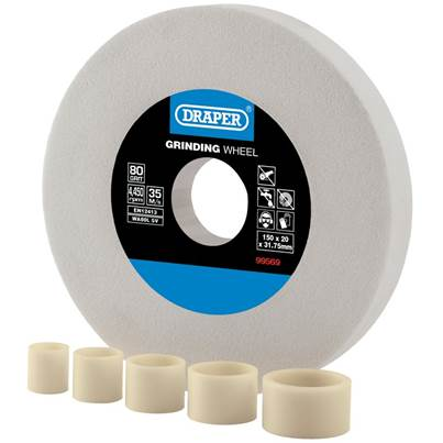 Draper White Aluminium Oxide Bench Grinding Wheel 80G (150mm x 20mm)