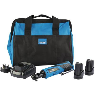 Draper Storm Force® 10.8V Power Interchange Reversible Ratchet Kit (+2x 1.5Ah Batteries, Charger and Bag)