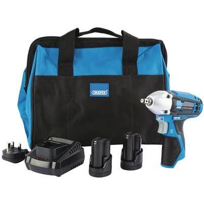 Draper Storm Force® 10.8V Power Interchange Impact Wrench Kit (+2x 1.5Ah Batteries, Charger and Bag)