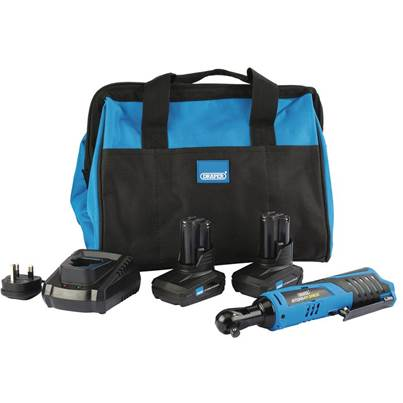 Draper Storm Force® 10.8V Power Interchange Reversible Ratchet Kit (+2x 4Ah Batteries, Charger and Bag)