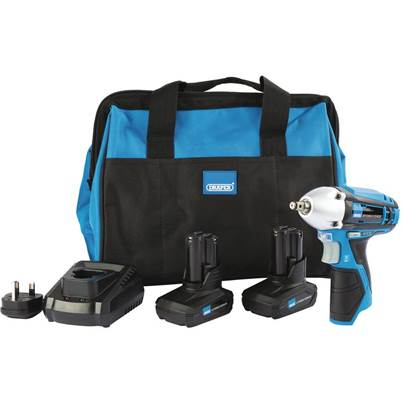 Draper Storm Force® 10.8V Power Interchange Impact Wrench Kit (+2 x 4Ah Batteries, Charger and Bag)