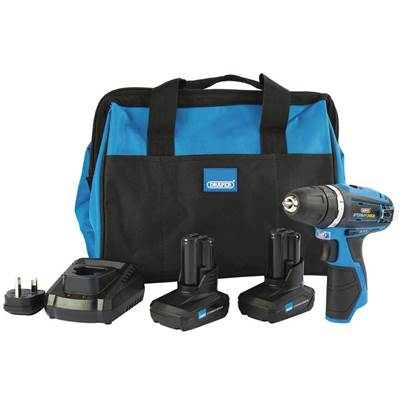 Draper Storm Force® 10.8V Power Interchange Rotary Drill Kit (+2x 4Ah Batteries, Charger and Bag)
