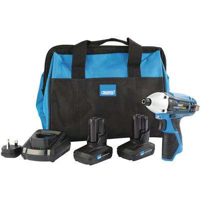 Draper Storm Force® 10.8V Power Interchange Impact Driver Kit (+2x 4Ah Batteries, Charger and Bag)