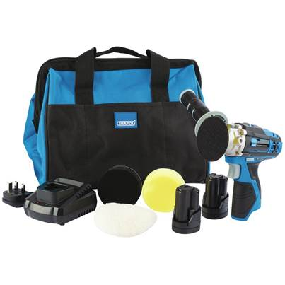 Draper Storm Force® 10.8V Power Interchange Mini Polisher Kit (+2x 1.5Ah Batteries, Charger and Bag)