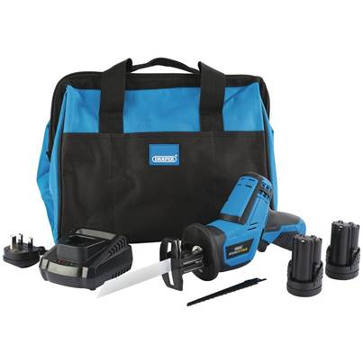 Draper Storm Force® 10.8V Power Interchange Reciprocating Saw Kit (+2x 1.5Ah Batteries, Charger and Bag)
