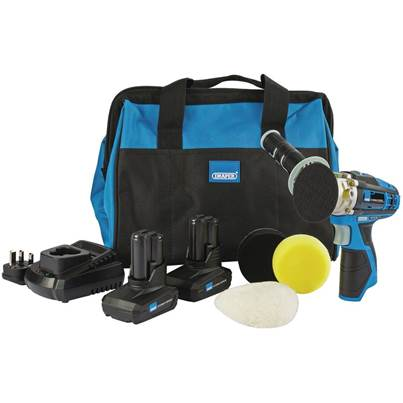 Draper Storm Force® 10.8V Power Interchange Mini Polisher Kit (+2x 4Ah Batteries, Charger and Bag)