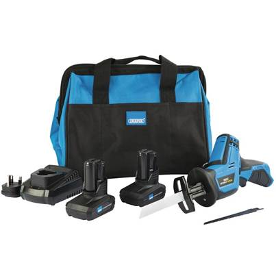 Draper Storm Force® 10.8V Power Interchange Reciprocating Saw Kit (+2 x 4Ah Batteries, Charger and Bag)