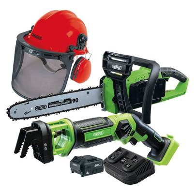 Draper D20 Cordless Garden Saw Kit with Helmet