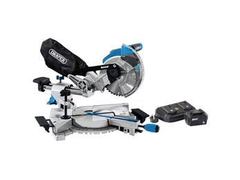 Draper D20 20V Brushless 185mm Sliding Compound Mitre Saw with 5Ah Battery And Twin Charger