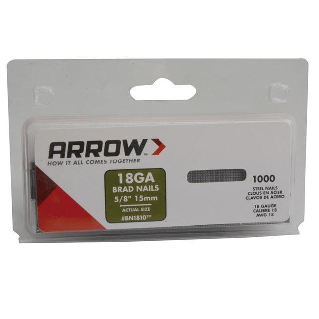Arrow BN1810 Brad Nails 15mm Pack 1000