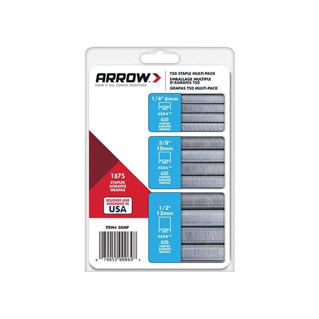 Arrow T50 Staples Multi Pack 6mm  10mm & 12mm Box 1875 (3 x 625)