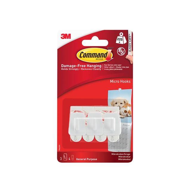 Command™ White Micro Hooks (Pack 3)