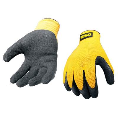 DeWALT DPG70L Yellow Knit Back Latex Gloves - Large