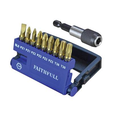 Faithfull Diamond Bit Set S2 Torsion, 10 Piece
