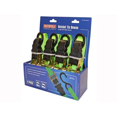 Faithfull Ratchet Tie-Downs 5m x 25mm Green 4 Piece