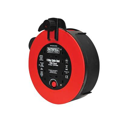 Faithfull Power Plus Fast Rewind 4 Socket Cable Reel 10 Metre 3120 Watt 13 Amp