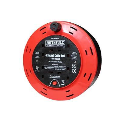 Faithfull Power Plus Cable Reel 240V 10A 4-Socket 10m