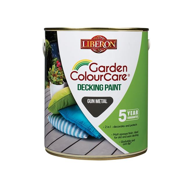 Liberon Garden Colour Care Decking Paint Gun Metal 2.5 litre