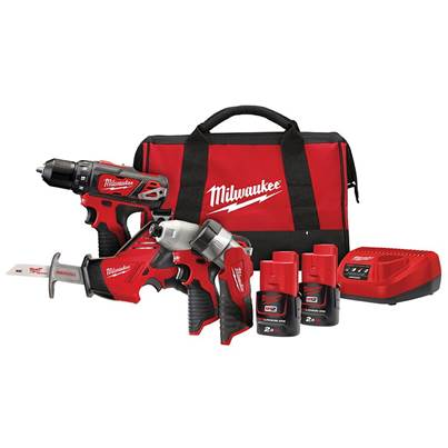 Milwaukee Power Tools M12 BPP4A-202C 4 Piece Kit 12V 2 x 2.0Ah Li-ion