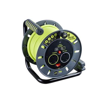 Masterplug PRO-XT Open Cable Reel 240V 13A 2-Socket & 2 USB (2.1A Shared) 25m