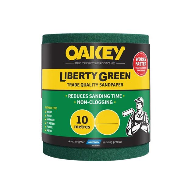 Oakey Liberty Green Sanding Roll 115mm x 10m Medium 80G