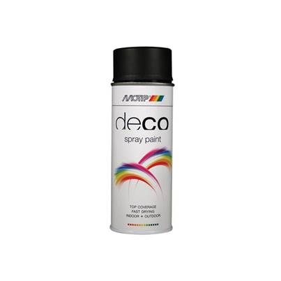 PlastiKote Deco Spray Paint Satin Matt RAL 9005 Deep Black 400ml