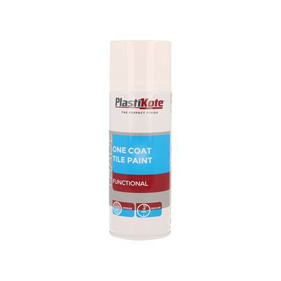 PlastiKote Trade One Coat Spray Tile Paint Gloss White 400ml