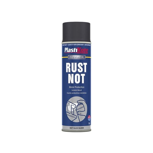 PlastiKote Rust Not Spray Matt Black 500ml