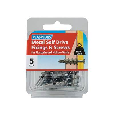 Plasplugs Metal Self Drive Fixings & Screws Pack of 5