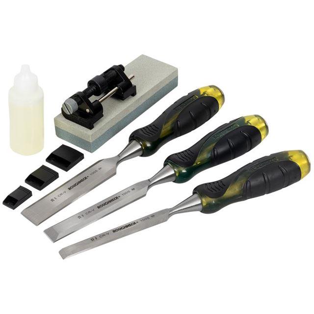 Roughneck Professional Bevel Edge Chisel Set, 3 Piece + Sharpening Kit 13 19 & 25mm