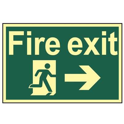 Scan Fire Exit Running Man Arrow Right - Photoluminescent 300 x 200mm