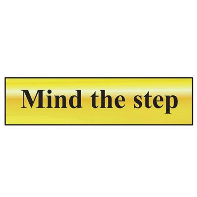 Scan Mind The Step - Polished Brass Effect 200 x 50mm