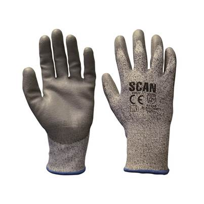 Scan Grey PU Coated Cut 5 Gloves