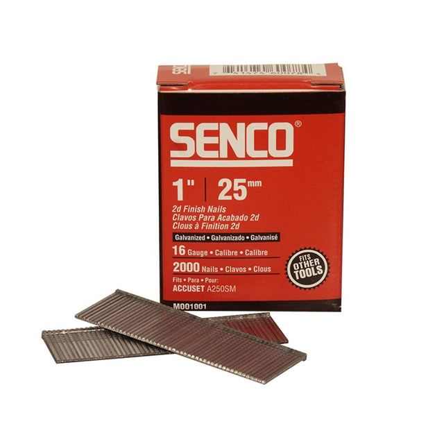 Senco Straight Brad Nails Galvanised 16G x 25mm (Pack 2000)