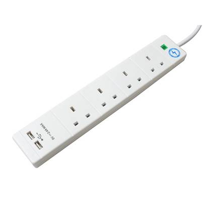 SMJ USB Extension Lead 240V 4-Way 13A Surge Protection 2m