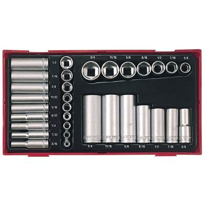 Teng TTAF32 Regular/Deep Socket Set, 32 Piece - 1/4 & 3/8in Drive