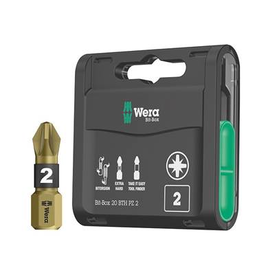 Wera Bit-Box 20 BTH BiTorsion Extra Hard Bits PZ2 x 25mm, 20 Piece
