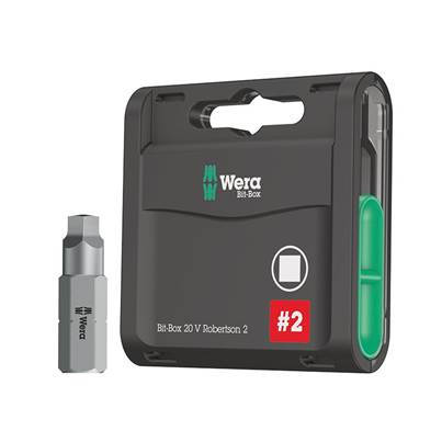 Wera Bit-Box 20 H Extra Hard Bits Robertson 2 Square x 25mm, 20 Piece
