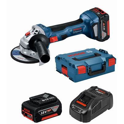 Bosch GWS18-7 Cordless 18v 115mm Angle Grinder With 2 x 4.0Ah Batteries & L-Boxx