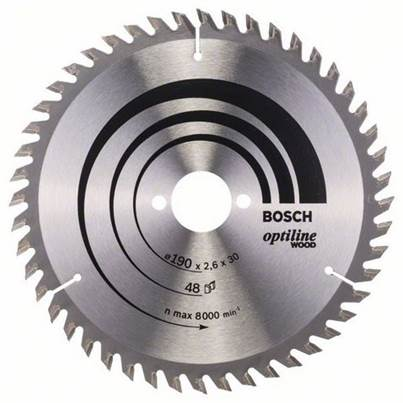 Bosch Optiline Wood circular saw blade 190mm x 30 x 2.6, 48T