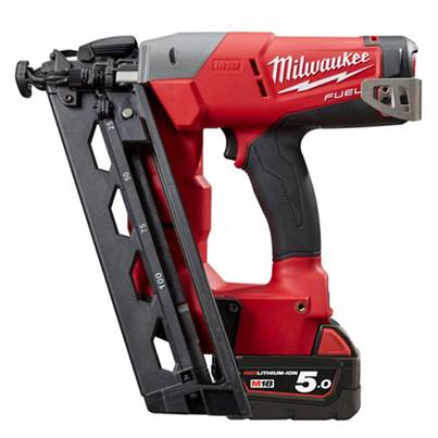 Milwaukee Power Tools M18CN16GA-502X 18V Fuel 2x5Ah Li-ion 16G Angled Nailer Kit